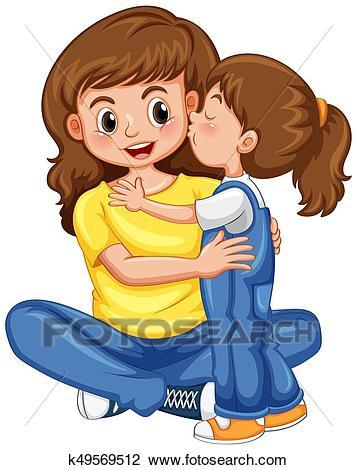 daughter kissing her mother clipart k49569512   GRDELIN BUZET